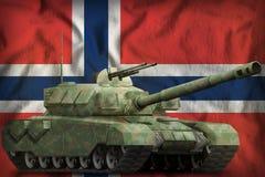 与森林伪装的重的坦克在挪威国旗背景 3d例证 库存图片