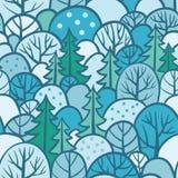 与森林例证的无缝的树样式 免版税库存照片