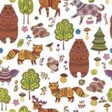 与森林动物和鸟的无缝的乱画样式 库存例证
