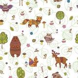 与森林动物的乱画无缝的样式 皇族释放例证