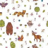 与森林动物的乱画无缝的样式 库存例证