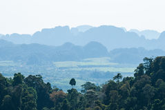 与森林和村庄的绿色热带谷。在Thaila南部 免版税库存照片
