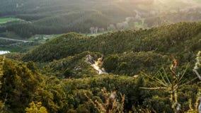 与森林和湖,罗托路亚,新西兰的山风景 库存照片