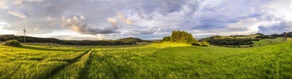 与森林和绿色草甸的农村埃菲尔山风景 免版税库存图片