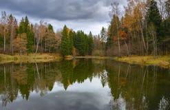 与森林池塘和树的多云秋天风景 免版税库存图片