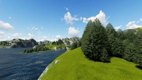 与森林的绿色山和草坪3D回报 库存例证