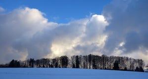 与森林边缘大云彩的小山在黄昏 免版税库存图片