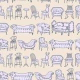 与椅子乱画和条纹背景的传染媒介无缝的样式 免版税库存照片