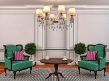 与椅子和植物的内部 3d例证 免版税库存图片