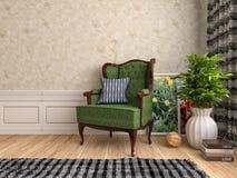 与椅子和植物的内部 3d例证 免版税库存照片