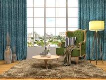 与椅子和植物的内部 3d例证 库存照片