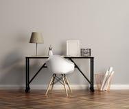与椅子的典雅的白色家庭办公室桌 免版税库存图片