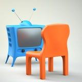 与椅子的动画片被称呼的电视 免版税库存图片