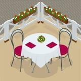 与椅子的表咖啡馆的 现代桌和椅子在白色背景 街道咖啡馆 等量平的3d的传染媒介 库存照片