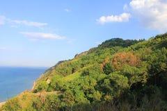 与植物和植被的小山在海前面 免版税图库摄影