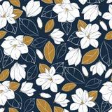 与植物的元素的传染媒介时髦无缝的样式 木兰在深刻的蓝色和芥末颜色开花,发芽并且离开 设计f 库存图片