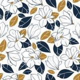 与植物的元素的传染媒介时髦无缝的样式 木兰在深刻的蓝色和芥末颜色开花,发芽并且离开 免版税库存图片