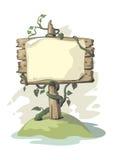 与植物的广告牌 免版税库存照片