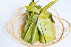与椰子填装的食谱的蒸的面粉 库存图片