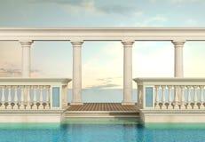 与楼梯栏杆和柱廊的豪华游泳池 库存例证