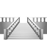 与楼梯栏杆的巴洛克式的楼梯在白色背景 库存例证