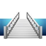 与楼梯栏杆的巴洛克式的楼梯在蓝色小条 向量例证