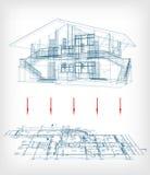 与楼面布置图的风格化房子模型。传染媒介 免版税库存图片