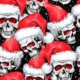 与概略头骨的水彩无缝的样式在圣诞老人帽子 Cretive新年 多孔黏土可用的庆祝文件例证以图例解释者 可以用途  免版税图库摄影