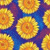 与概述开放向日葵或向日葵花的传染媒介无缝的样式在黄色和橙色在蓝色背景 皇族释放例证