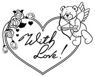 与概述玫瑰的心形的框架和与的弓的玩具熊 免版税库存照片