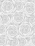 与概述玫瑰的黑白无缝的花卉纹理 皇族释放例证
