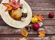 与槭树叶子的秋天木背景 免版税图库摄影