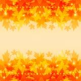 与槭树叶子的秋天背景。 库存照片
