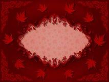 与槭树的葡萄酒深红巴洛克式的样式框架离开 库存图片