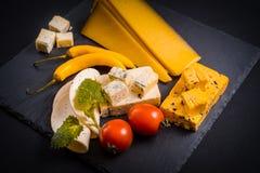 与模子、西红柿、蓬蒿和蜜蜂花的乳酪绿化,在一个石盘子的炽热胡椒在深灰背景 库存照片