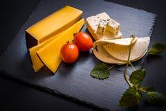 与模子、西红柿、蓬蒿和蜜蜂花的乳酪绿化,在一个石盘子的炽热胡椒在深灰背景 图库摄影