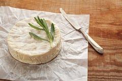 与模子的乳酪在一张木桌上 库存照片