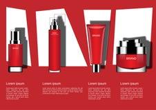 与模板的四个化妆产品在几何背景,关于 向量例证