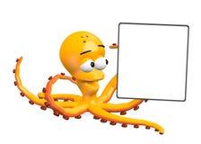 与模板的章鱼(为文本) 免版税库存图片