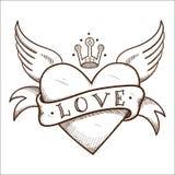 与横幅和冠的心脏。 免版税库存照片