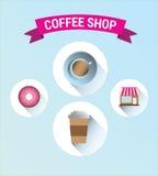 与横幅和文本的咖啡店 免版税库存照片