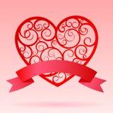 与横幅的红色装饰纸心脏 皇族释放例证
