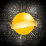 与横幅的迪斯科球在星破裂了背景 免版税库存照片