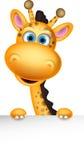 与横幅的逗人喜爱的长颈鹿动画片 免版税图库摄影