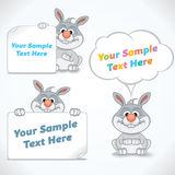 与横幅的滑稽的动画片兔子 免版税库存图片