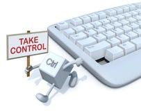 与横幅的Ctrl钥匙跑远离键盘 免版税库存照片