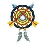 与横渡的箭头的Dreamcatcher魅力,当地美洲印第安人文化标志,从北美的种族对象隔绝了 向量例证