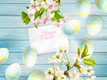 与樱桃枝杈的复活节背景 10 eps 库存照片