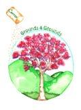 与樱桃树水彩的持续力地面 免版税库存图片