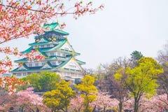 与樱花的大阪城堡 美好日本的春天scen 免版税库存图片